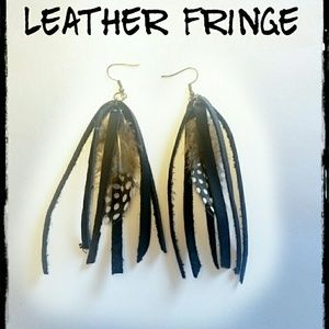 Leather Fringe Earrings with feather detail